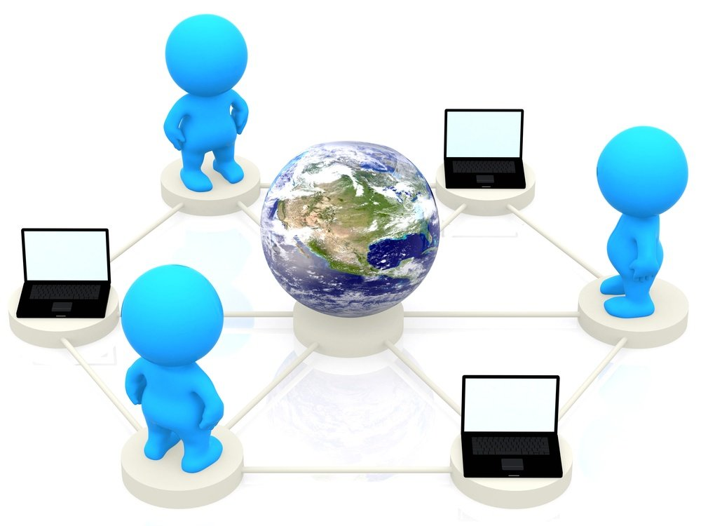 3D people and computers networking around the world - isolated over white.jpeg