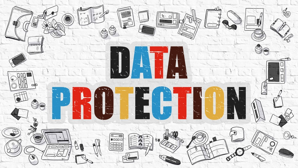 Data Protection Concept. Modern Line Style Illustration. Multicolor Data Protection Drawn on White Brick Wall. Doodle Icons. Doodle Design Style of Data Protection Concept.-1.jpeg