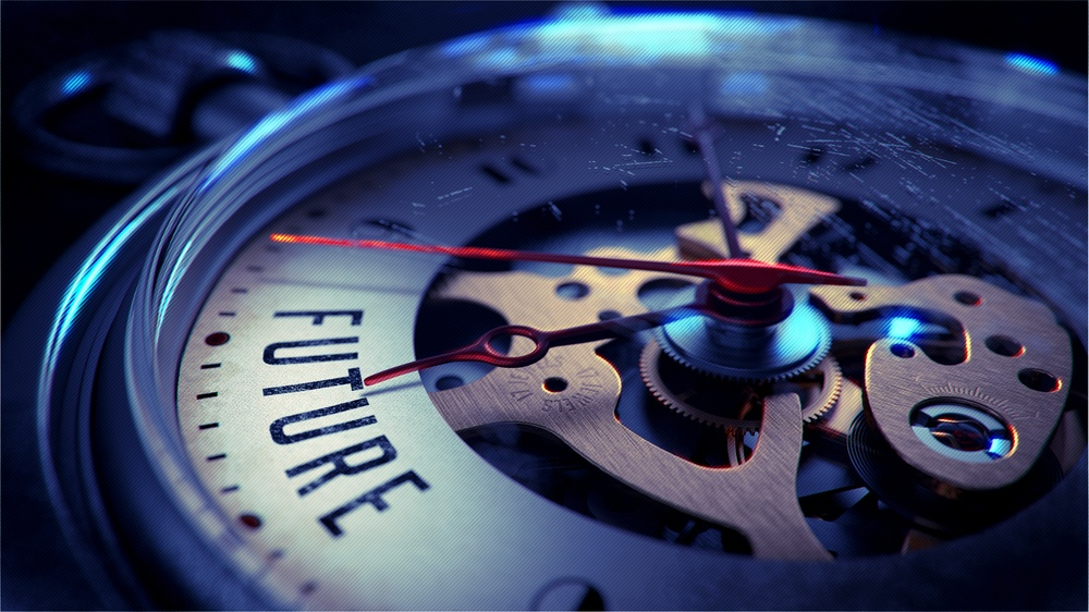 Future on Pocket Watch Face with Close View of Watch Mechanism. Time Concept. Vintage Effect..jpeg