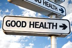 Good Health direction sign on sky background-1