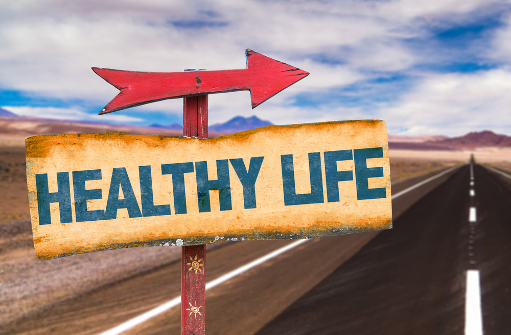 Healthy Life sign with road background-1