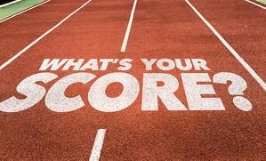 Whats Your Score? written on running track