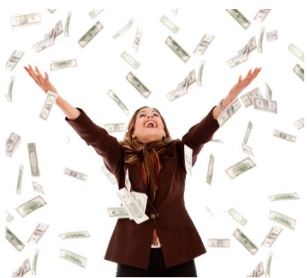 Woman under raining money.jpg