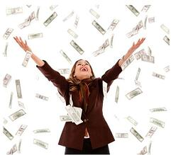 Woman under raining money.jpg