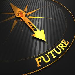 Future - Business Background. Golden Compass Needle on a Black Field Pointing to the Word Future. 3D Render.
