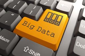 Orange Big Data Button on Computer Keyboard. Information Concept.