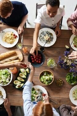 dinner party with healthy food